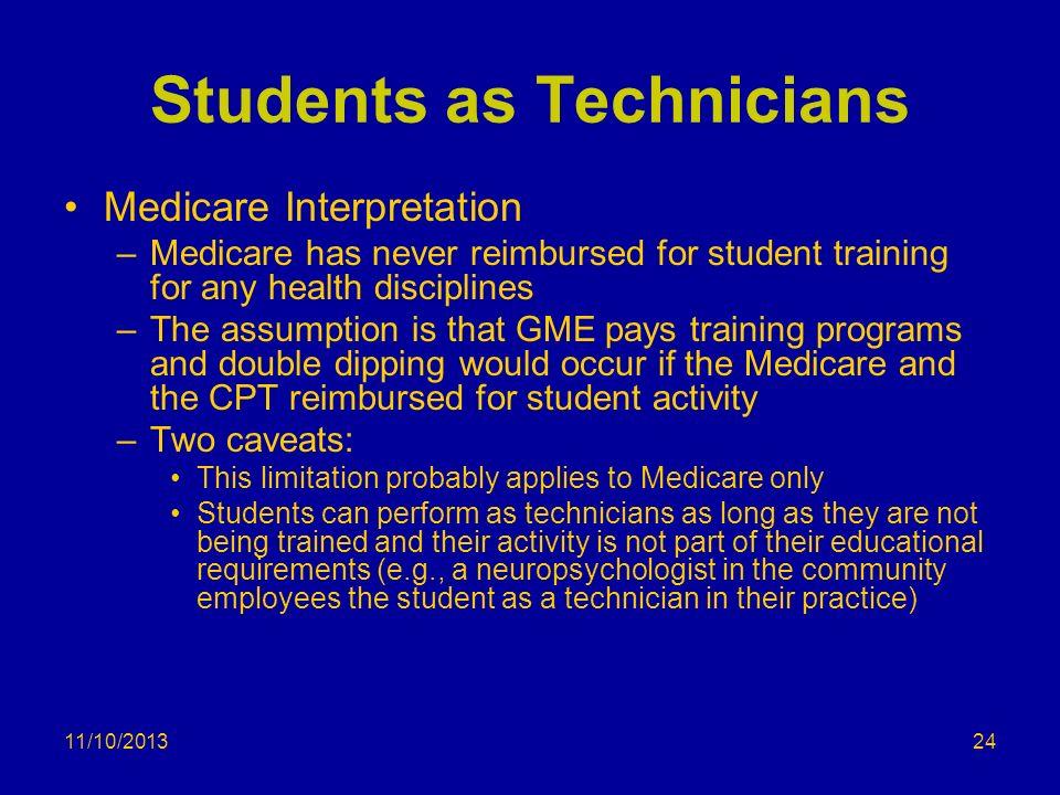11/10/2013 Students as Technicians Medicare Interpretation –Medicare has never reimbursed for student training for any health disciplines –The assumpt