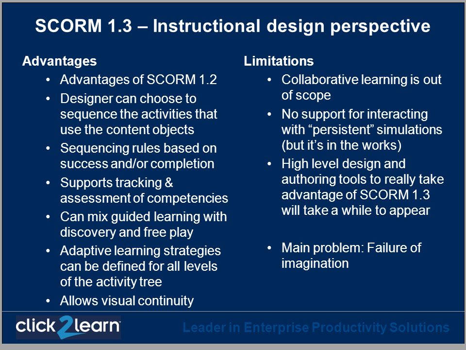 Leader in Enterprise Productivity Solutions SCORM 1.3 – Instructional design perspective Advantages Advantages of SCORM 1.2 Designer can choose to seq