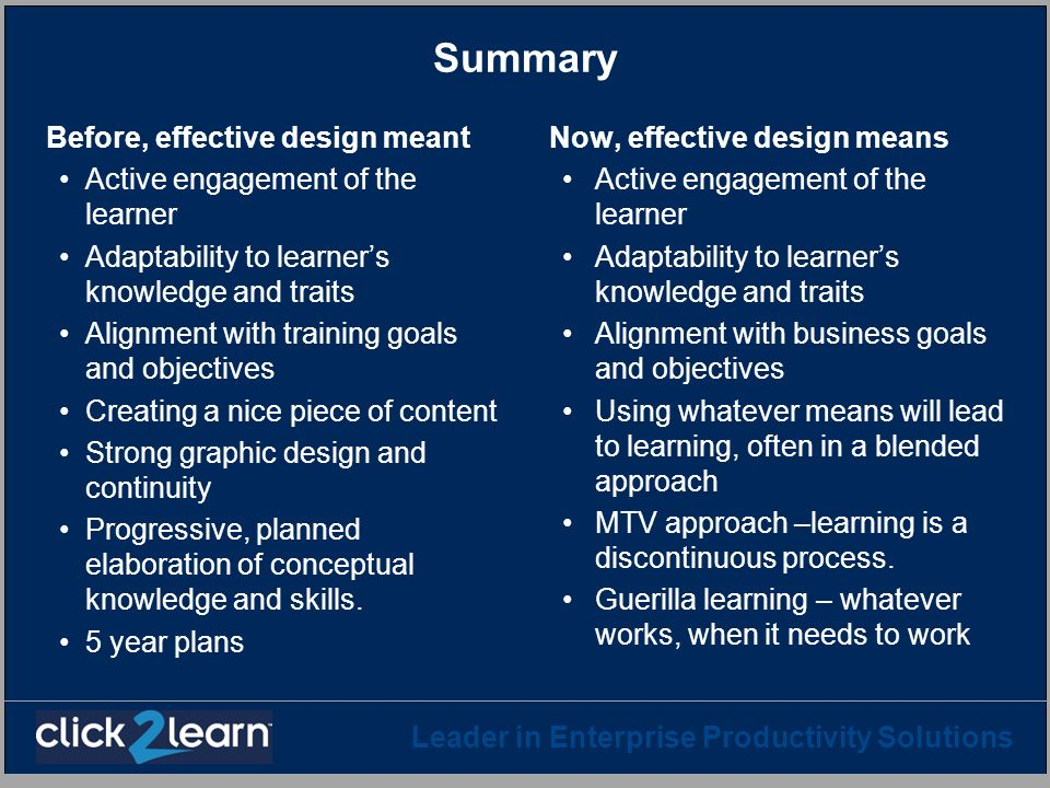 Leader in Enterprise Productivity Solutions Summary Before, effective design meant Active engagement of the learner Adaptability to learners knowledge