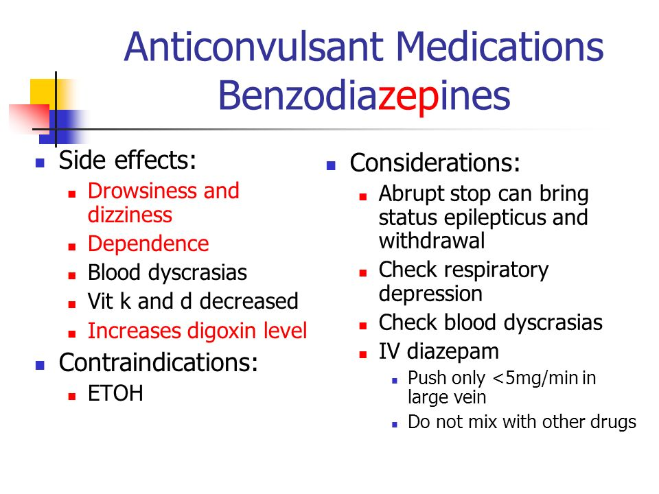Anticonvulsant Medications Benzodiazepines Side effects: Drowsiness and dizziness Dependence Blood dyscrasias Vit k and d decreased Increases digoxin