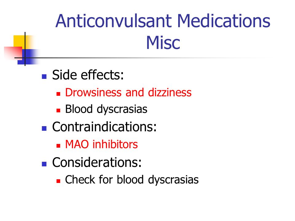 Anticonvulsant Medications Misc Side effects: Drowsiness and dizziness Blood dyscrasias Contraindications: MAO inhibitors Considerations: Check for bl