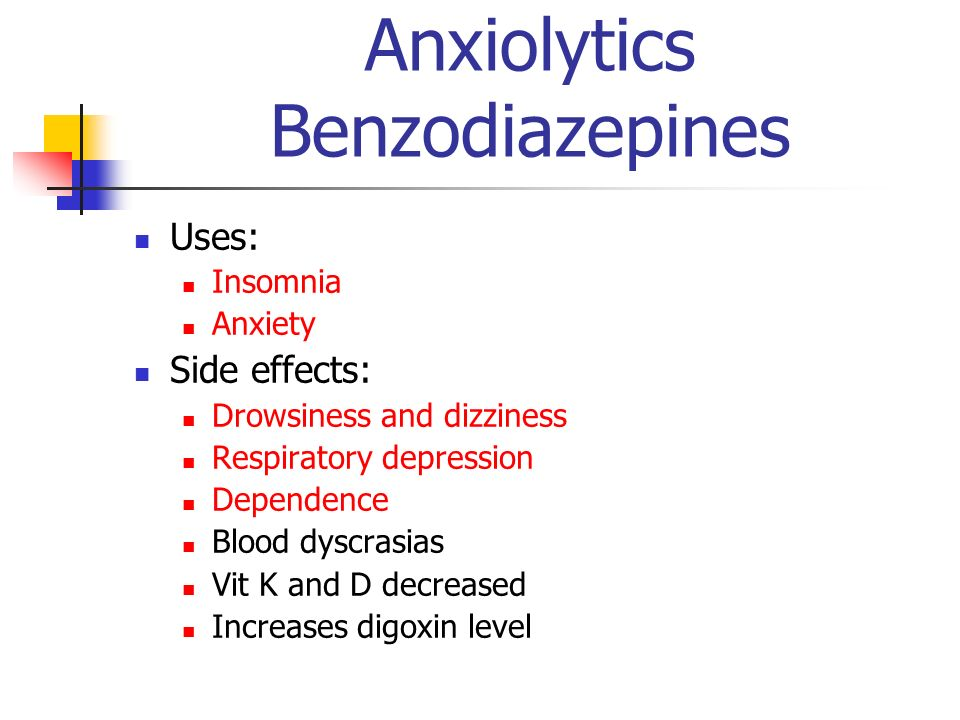Anxiolytics Benzodiazepines Uses: Insomnia Anxiety Side effects: Drowsiness and dizziness Respiratory depression Dependence Blood dyscrasias Vit K and
