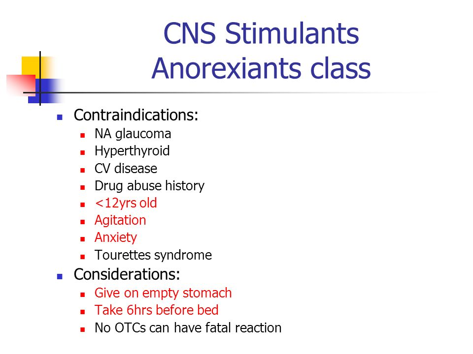 CNS Stimulants Anorexiants class Contraindications: NA glaucoma Hyperthyroid CV disease Drug abuse history <12yrs old Agitation Anxiety Tourettes synd