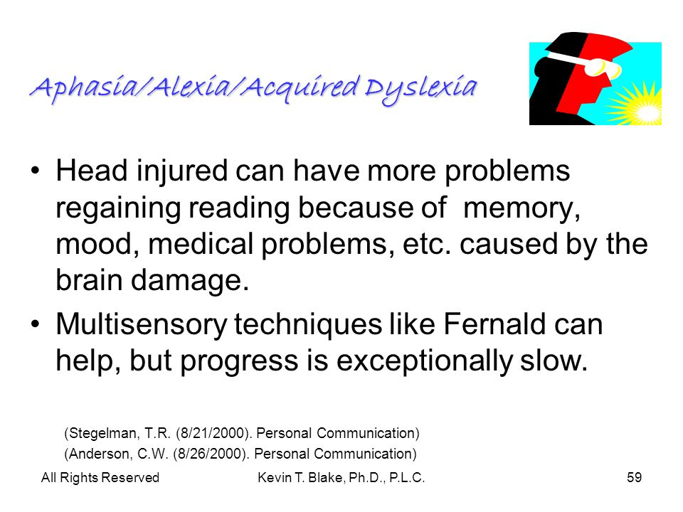 All Rights ReservedKevin T. Blake, Ph.D., P.L.C.59 Aphasia/Alexia/Acquired Dyslexia Head injured can have more problems regaining reading because of m