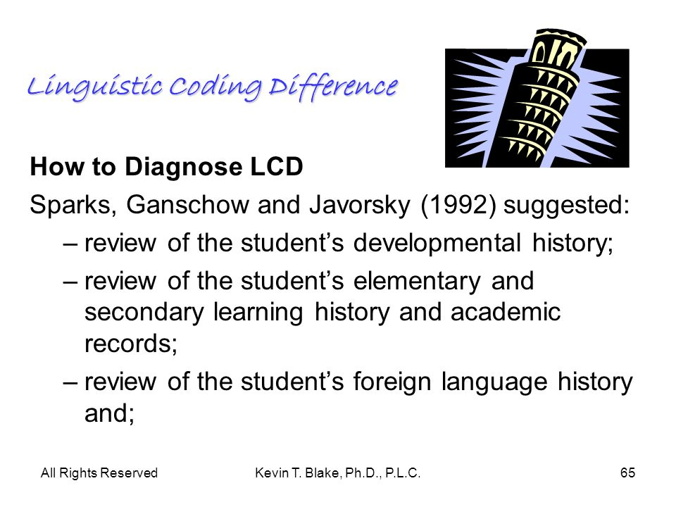 All Rights ReservedKevin T. Blake, Ph.D., P.L.C.65 Linguistic Coding Difference How to Diagnose LCD Sparks, Ganschow and Javorsky (1992) suggested: –r