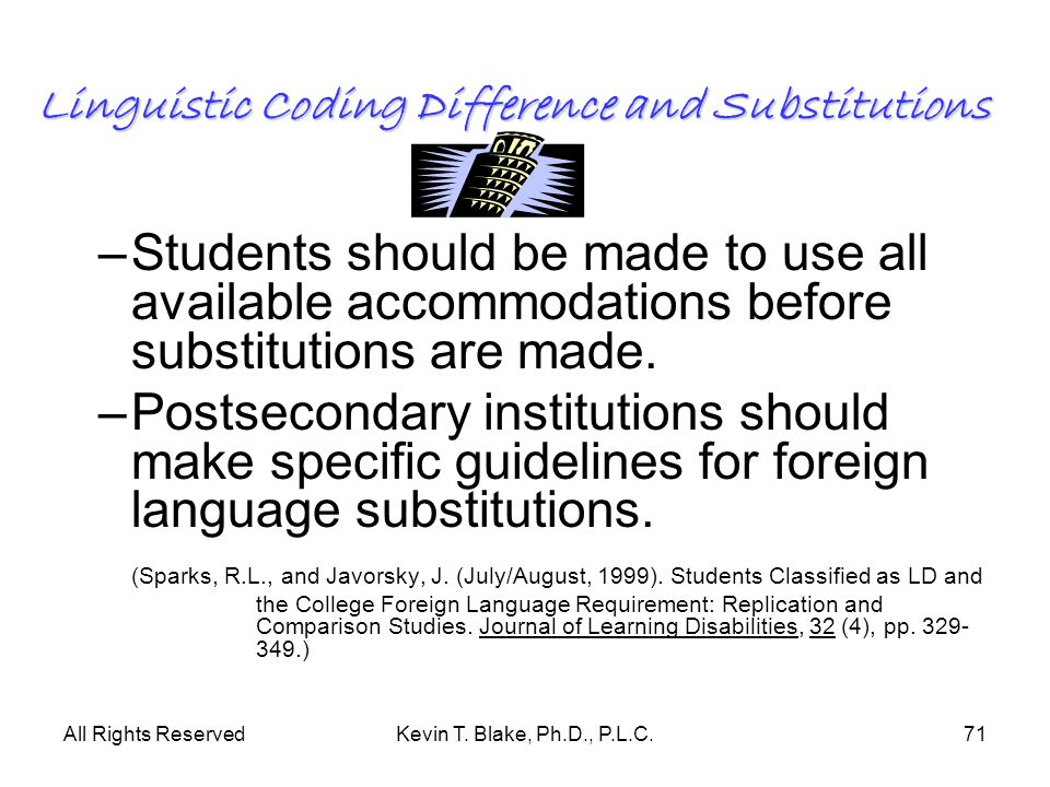 All Rights ReservedKevin T. Blake, Ph.D., P.L.C.71 Linguistic Coding Difference and Substitutions –Students should be made to use all available accomm