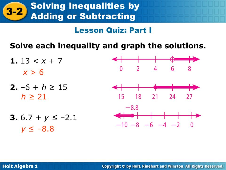 Holt Algebra 1 3-2 Solving Inequalities by Adding or Subtracting Lesson Quiz: Part I Solve each inequality and graph the solutions. 1. 13 < x + 7 x >