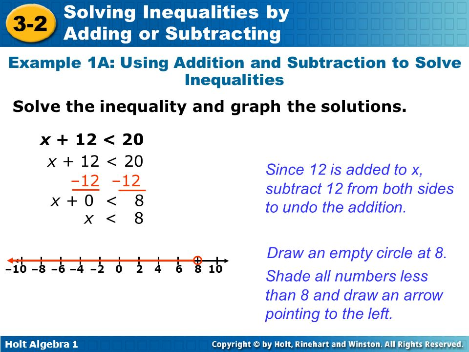Holt Algebra 1 3-2 Solving Inequalities by Adding or Subtracting Example 1A: Using Addition and Subtraction to Solve Inequalities Solve the inequality