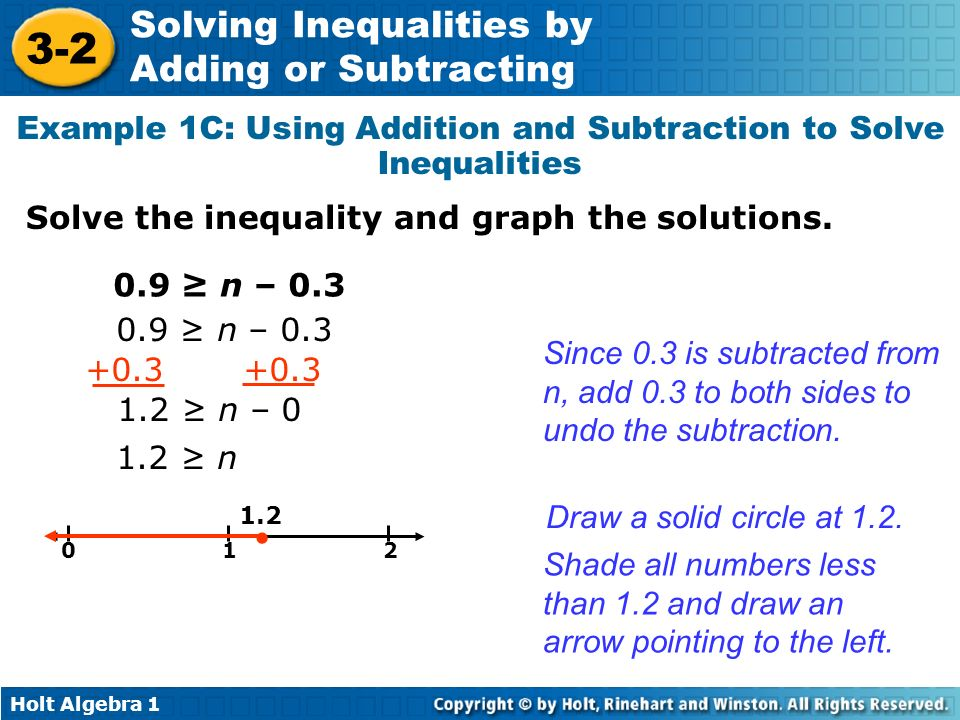 Holt Algebra 1 3-2 Solving Inequalities by Adding or Subtracting Example 1C: Using Addition and Subtraction to Solve Inequalities Solve the inequality