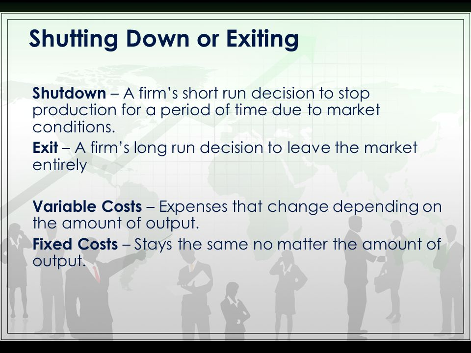 Decision to Shut Down in the Short Run A firm shuts down its revenue is less than the variable cost of production.