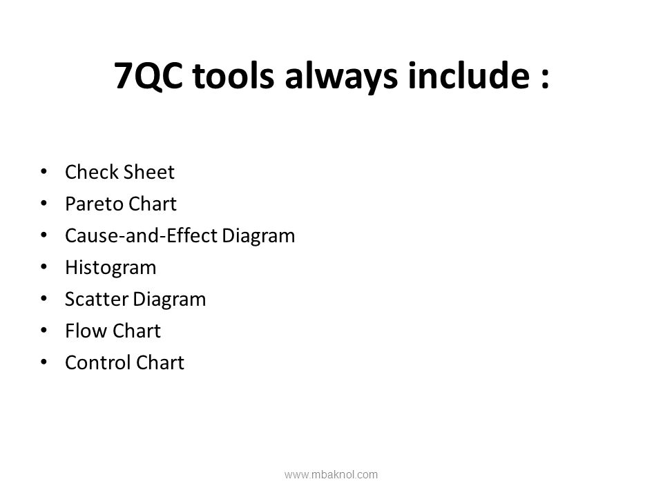 7QC tools always include : Check Sheet Pareto Chart Cause-and-Effect Diagram Histogram Scatter Diagram Flow Chart Control Chart www.mbaknol.com