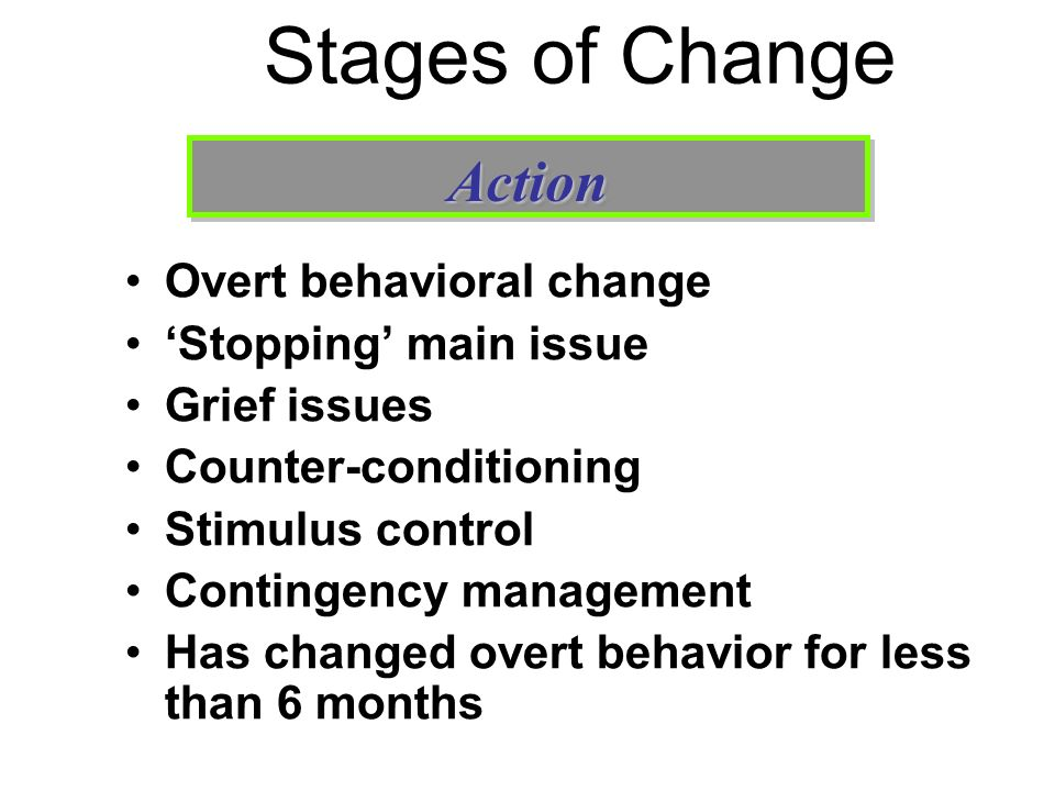 Stages of Change Overt behavioral change Stopping main issue Grief issues Counter-conditioning Stimulus control Contingency management Has changed ove