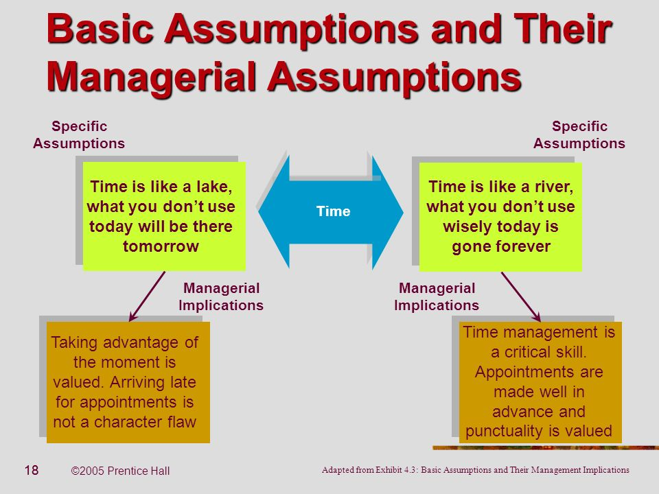 18 ©2005 Prentice Hall Basic Assumptions and Their Managerial Assumptions Specific Assumptions Managerial Implications Time is like a river, what you