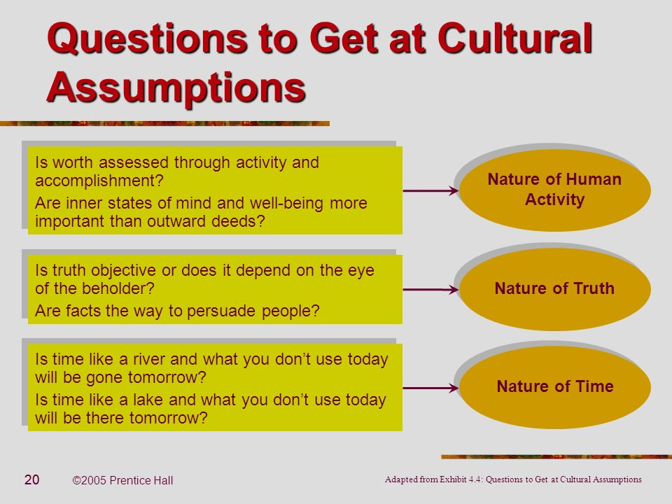 20 ©2005 Prentice Hall Questions to Get at Cultural Assumptions Nature of Human Activity Is worth assessed through activity and accomplishment? Are in
