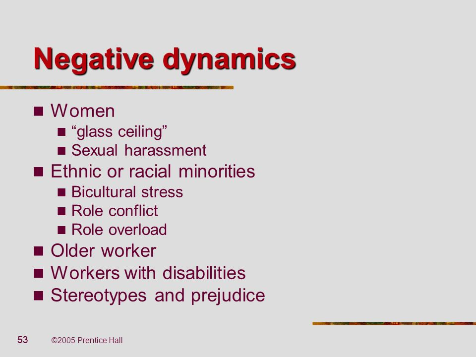 53 ©2005 Prentice Hall Negative dynamics Women glass ceiling Sexual harassment Ethnic or racial minorities Bicultural stress Role conflict Role overlo