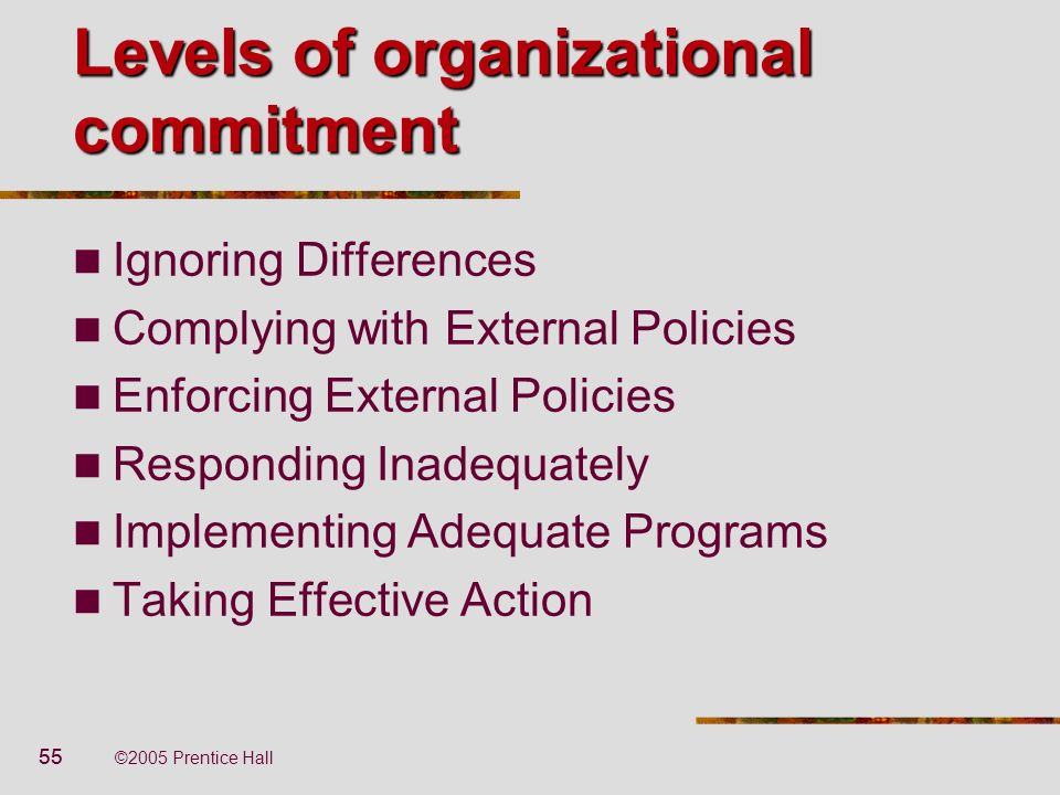 55 ©2005 Prentice Hall Levels of organizational commitment Ignoring Differences Complying with External Policies Enforcing External Policies Respondin