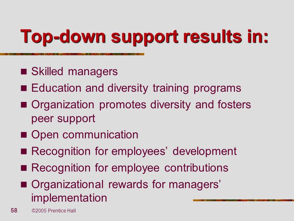 58 ©2005 Prentice Hall Top-down support results in: Skilled managers Education and diversity training programs Organization promotes diversity and fos