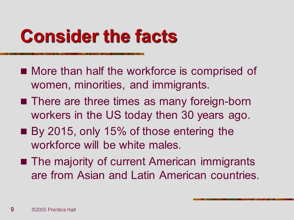 99 ©2005 Prentice Hall Consider the facts More than half the workforce is comprised of women, minorities, and immigrants. There are three times as man