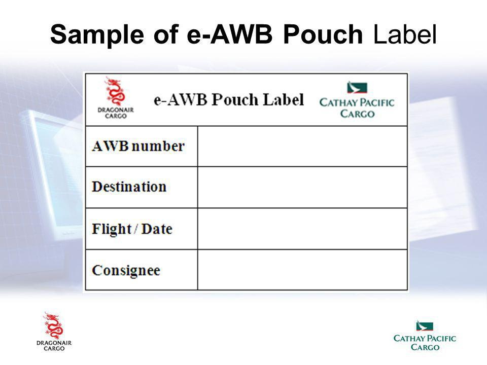 Sample of e-AWB Pouch Label
