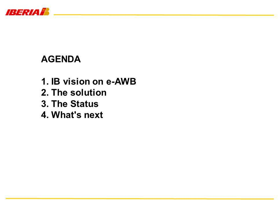 AGENDA 1. IB vision on e-AWB 2. The solution 3. The Status 4. What's next