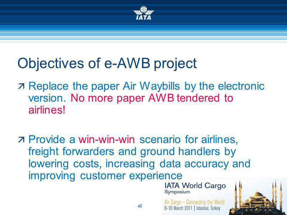 46 Objectives of e-AWB project Replace the paper Air Waybills by the electronic version. No more paper AWB tendered to airlines! Provide a win-win-win