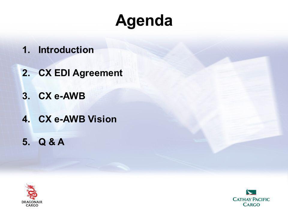 Agenda 1.Introduction 2.CX EDI Agreement 3.CX e-AWB 4.CX e-AWB Vision 5.Q & A