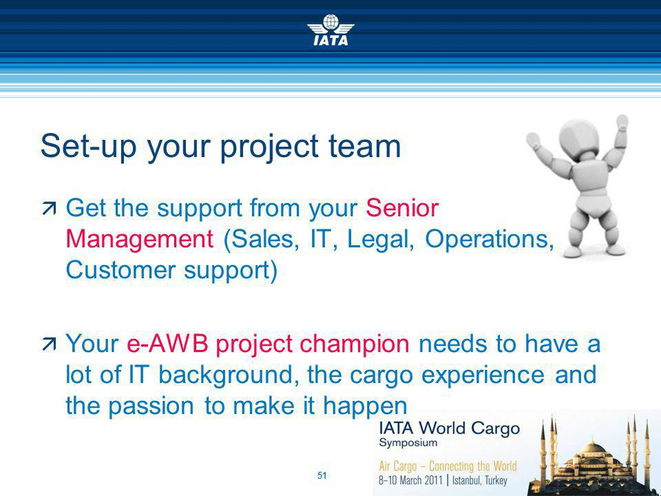 51 Set-up your project team Get the support from your Senior Management (Sales, IT, Legal, Operations, Customer support) Your e-AWB project champion n