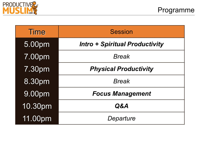 ProgrammeTime Session5.00pm Intro + Spiritual Productivity 7.00pm Break 7.30pm Physical Productivity 8.30pm Break 9.00pm Focus Management 10.30pm Q&A