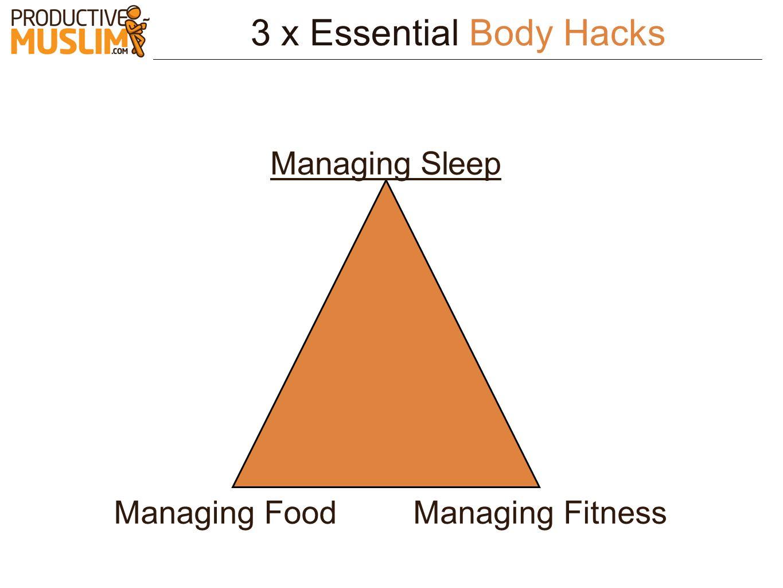 3 x Essential Body Hacks Managing Sleep Managing FoodManaging Fitness