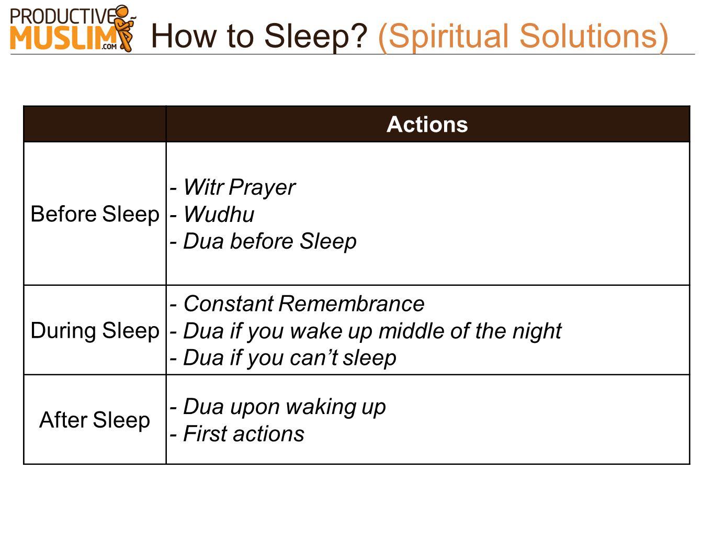 How to Sleep? (Spiritual Solutions) Actions Before Sleep - Witr Prayer - Wudhu - Dua before Sleep During Sleep - Constant Remembrance - Dua if you wak