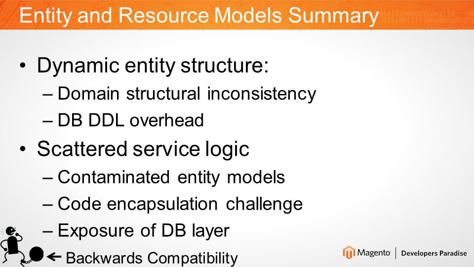 Mage_Core_Model_Resource_Db_Abstract MethodsPurpose save(), load(), delete()Entity CRUD getIdFieldName(), hasDataChanged()Relation with abstract model afterLoad()Hook for collections getTable(), getMainTable(), getReadConnection() Provide direct DB access to resource collections _prepareDataForTable(), _checkUnique()Dynamic analysis of table structure on entity save operation