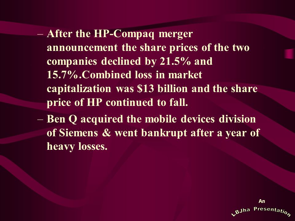 An –After the HP-Compaq merger announcement the share prices of the two companies declined by 21.5% and 15.7%.Combined loss in market capitalization was $13 billion and the share price of HP continued to fall.
