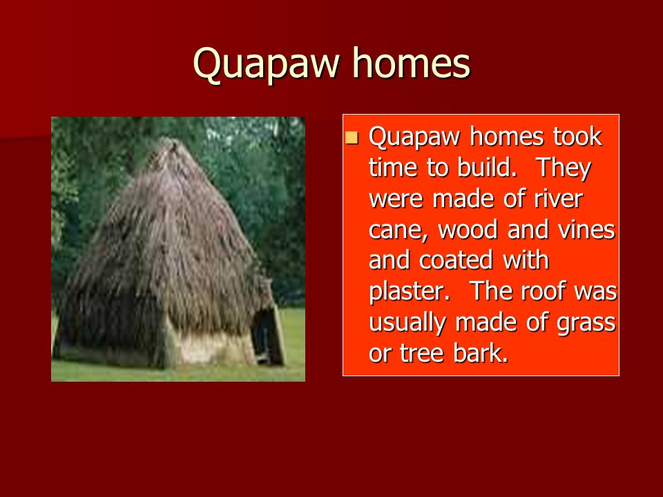 Quapaw homes Quapaw homes took time to build. They were made of river cane, wood and vines and coated with plaster. The roof was usually made of grass