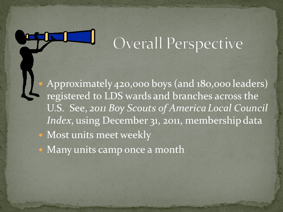 Approximately 420,000 boys (and 180,000 leaders) registered to LDS wards and branches across the U.S.
