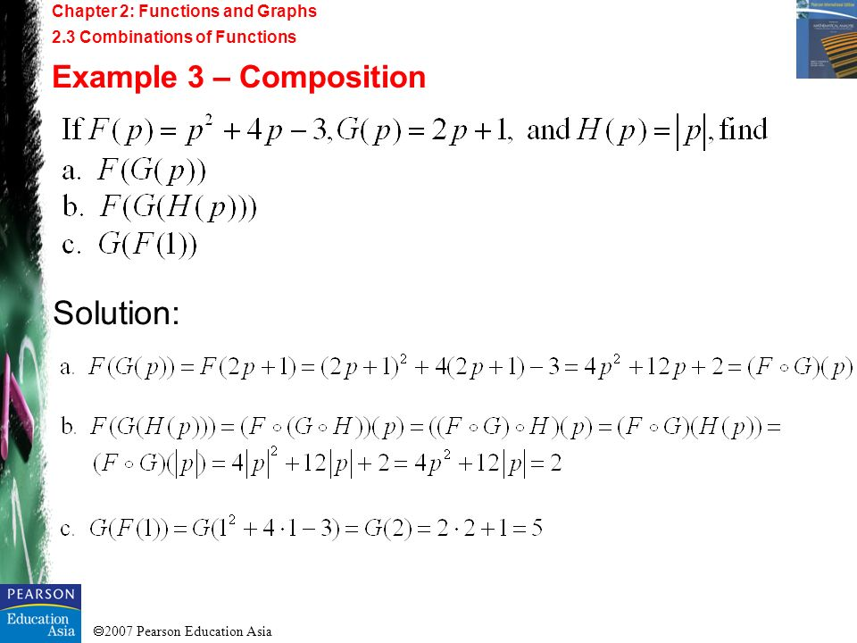 2007 Pearson Education Asia Chapter 2: Functions and Graphs 2.3 Combinations of Functions Example 3 – Composition Solution: