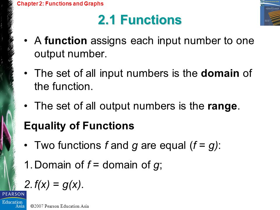 2007 Pearson Education Asia Chapter 2: Functions and Graphs 2.1 Functions Example 1 – Determining Equality of Functions Determine which of the following functions are equal.