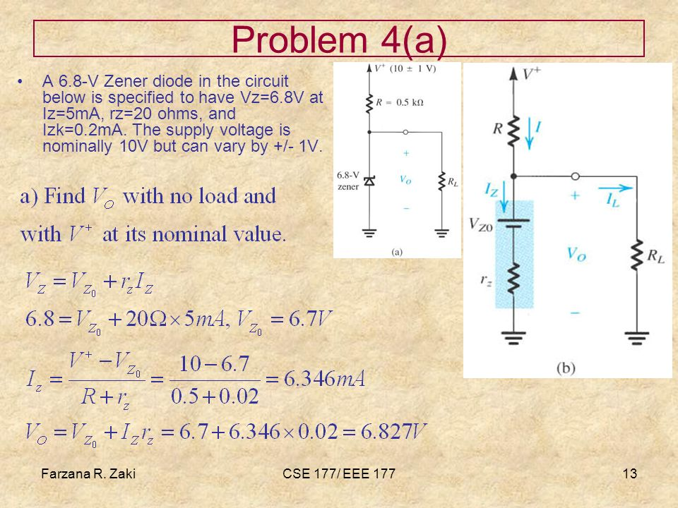 Farzana R. ZakiCSE 177/ EEE 17713 Problem 4(a) A 6.8-V Zener diode in the circuit below is specified to have Vz=6.8V at Iz=5mA, rz=20 ohms, and Izk=0.