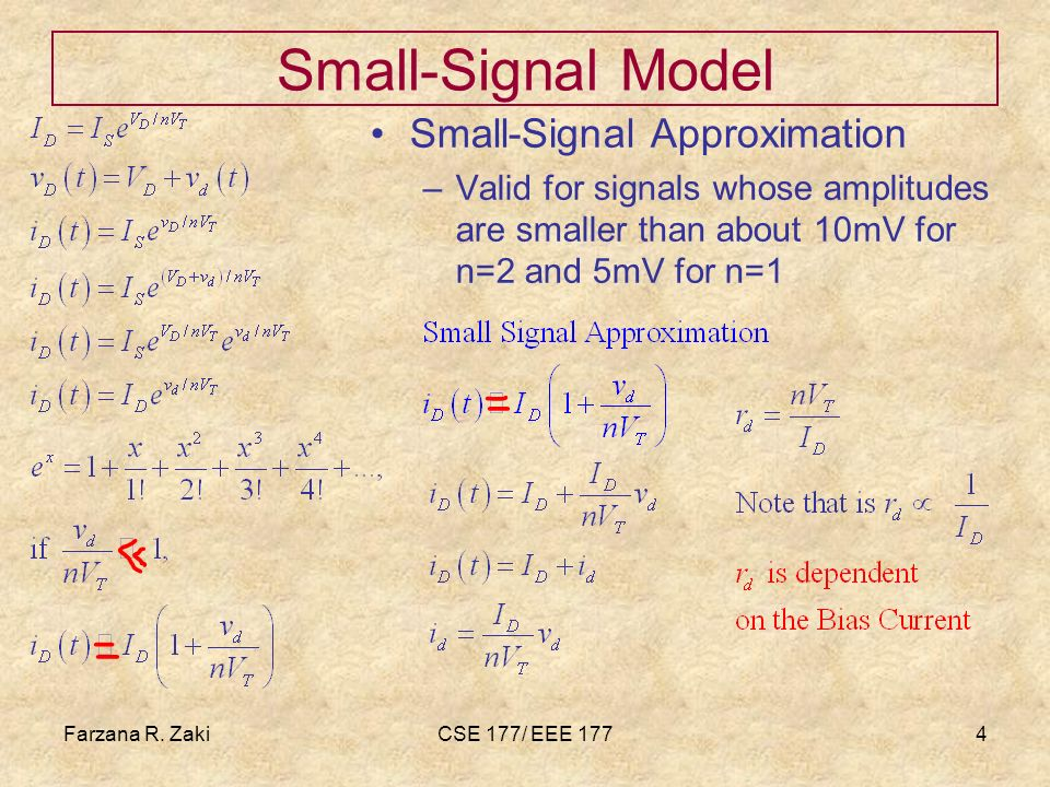 Farzana R. ZakiCSE 177/ EEE 1774 Small-Signal Model Small-Signal Approximation –Valid for signals whose amplitudes are smaller than about 10mV for n=2