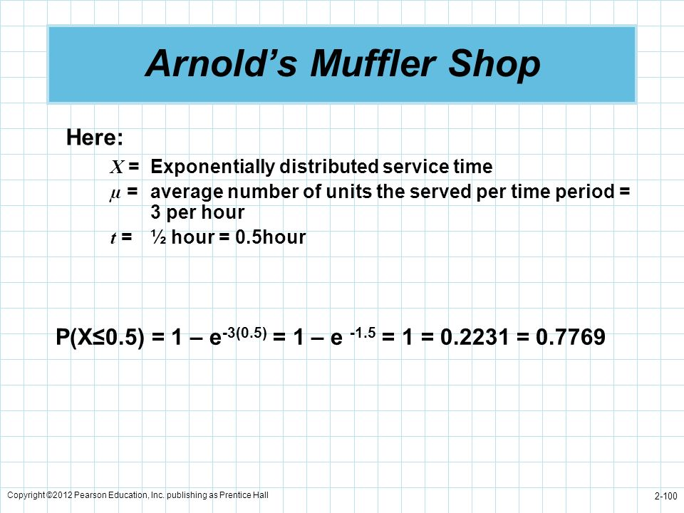 Copyright ©2012 Pearson Education, Inc. publishing as Prentice Hall 2-100 Arnolds Muffler Shop Here: X =Exponentially distributed service time µ =aver