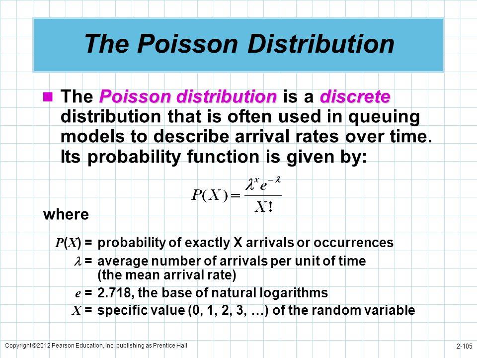 Copyright ©2012 Pearson Education, Inc. publishing as Prentice Hall 2-105 The Poisson Distribution Poissondistributiondiscrete The Poisson distributio