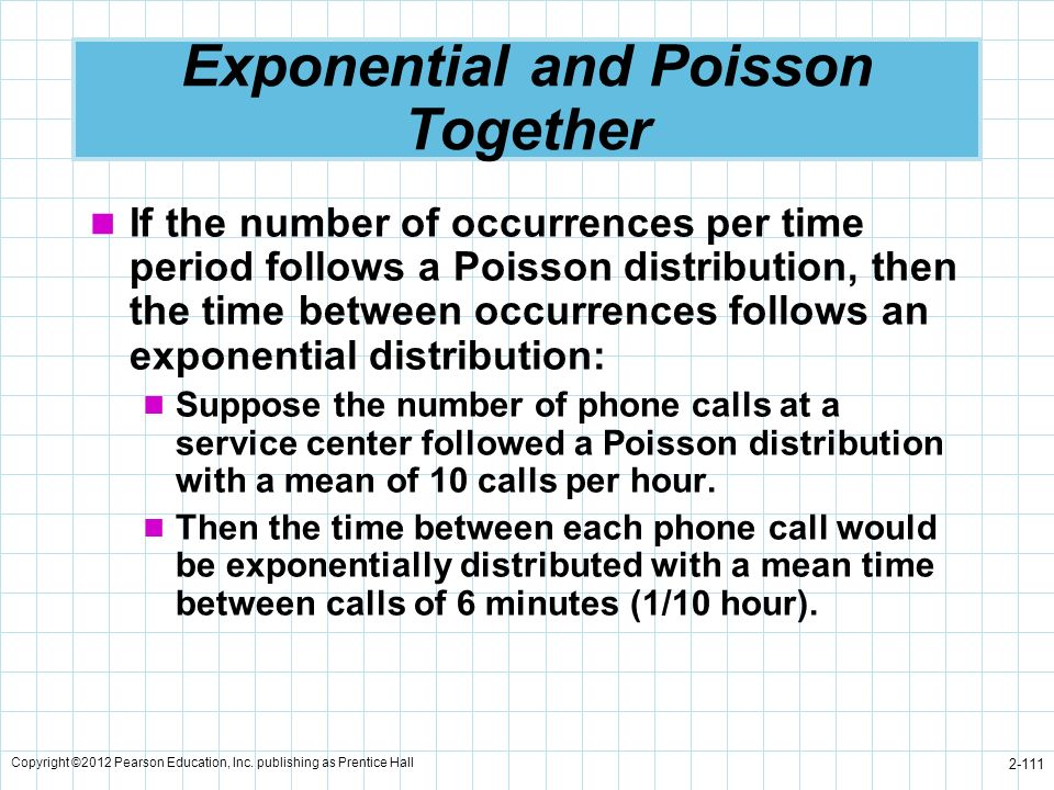 Copyright ©2012 Pearson Education, Inc. publishing as Prentice Hall 2-111 Exponential and Poisson Together If the number of occurrences per time perio