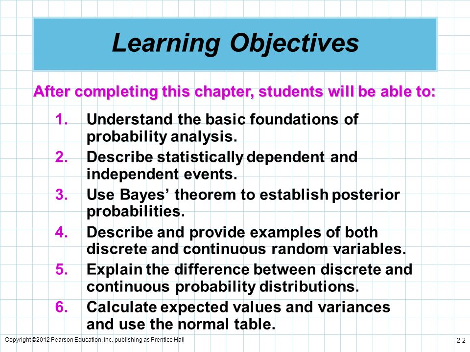 Copyright ©2012 Pearson Education, Inc. publishing as Prentice Hall 2-2 Learning Objectives 1.Understand the basic foundations of probability analysis