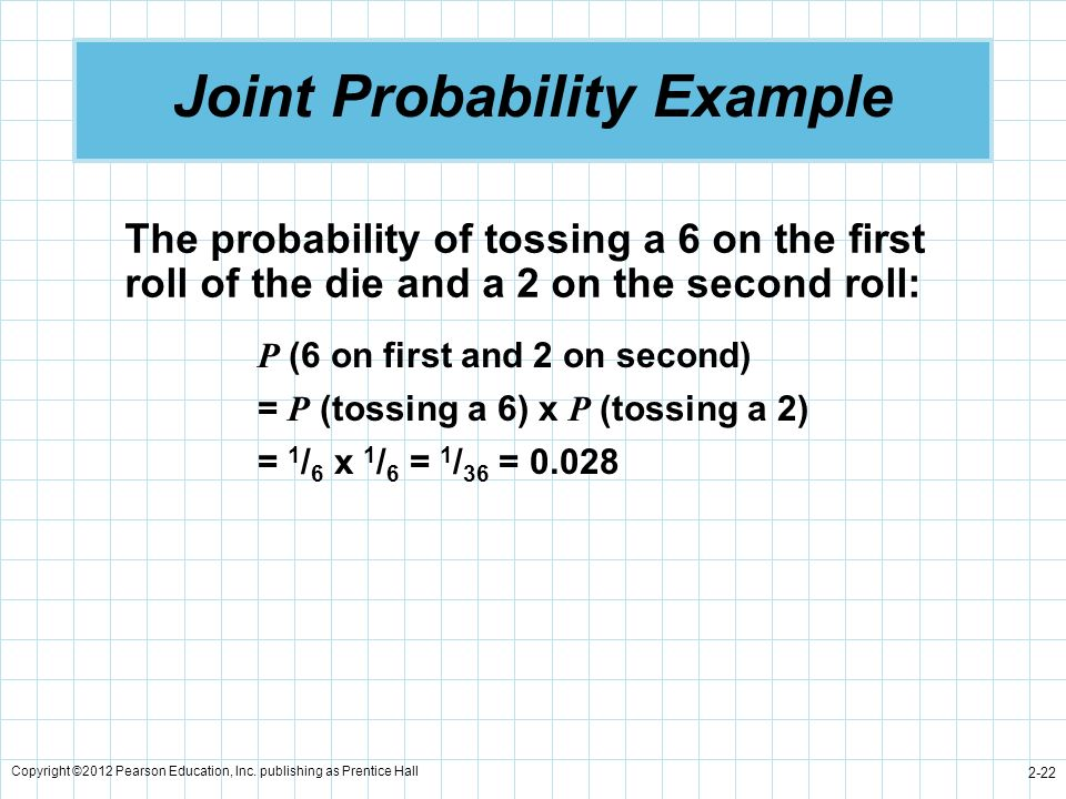 Copyright ©2012 Pearson Education, Inc. publishing as Prentice Hall 2-22 Joint Probability Example The probability of tossing a 6 on the first roll of