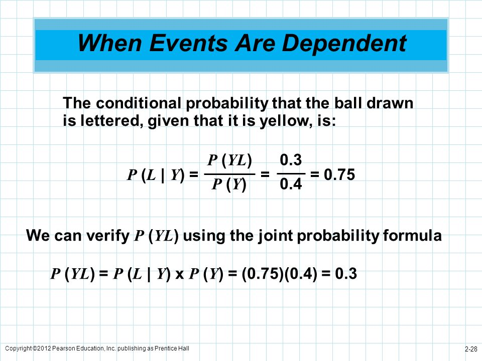 Copyright ©2012 Pearson Education, Inc. publishing as Prentice Hall 2-28 When Events Are Dependent The conditional probability that the ball drawn is