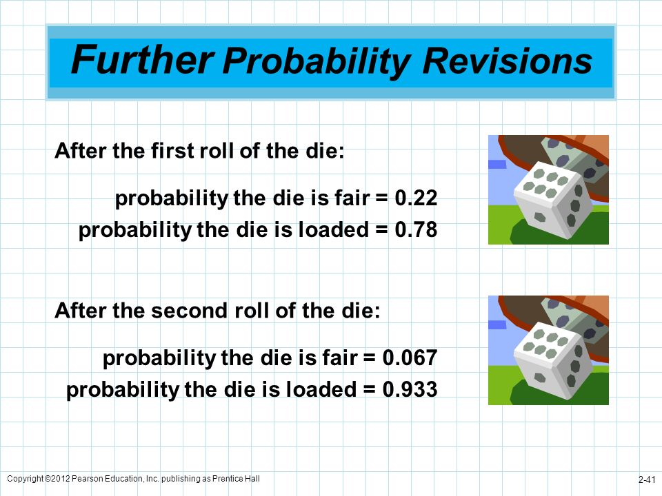 Copyright ©2012 Pearson Education, Inc. publishing as Prentice Hall 2-41 Further Probability Revisions After the first roll of the die: probability th