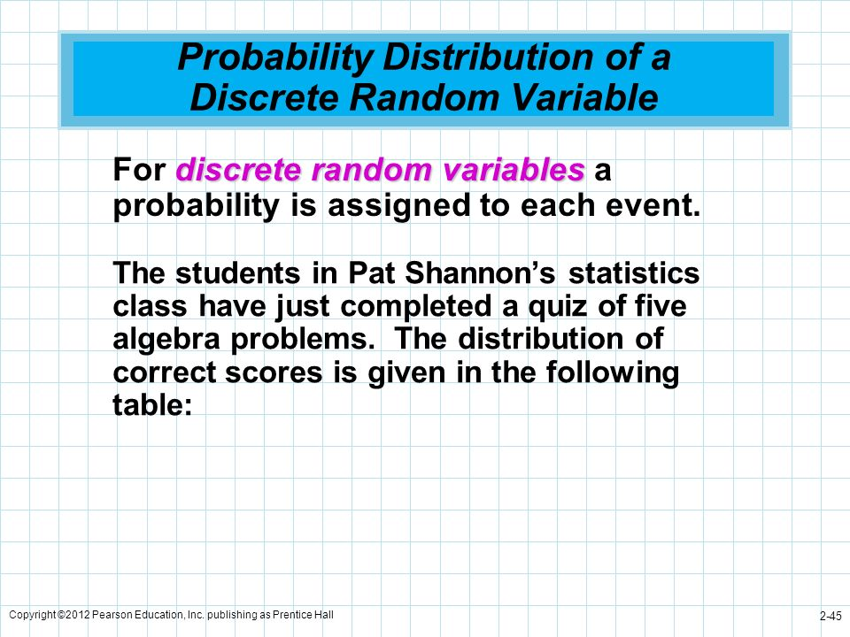 Copyright ©2012 Pearson Education, Inc. publishing as Prentice Hall 2-45 Probability Distribution of a Discrete Random Variable The students in Pat Sh