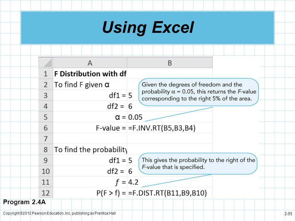 Copyright ©2012 Pearson Education, Inc. publishing as Prentice Hall 2-95 Using Excel Program 2.4A