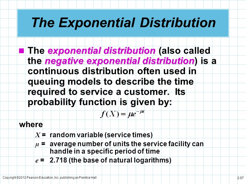 Copyright ©2012 Pearson Education, Inc. publishing as Prentice Hall 2-97 The Exponential Distribution exponential distribution negative exponential di