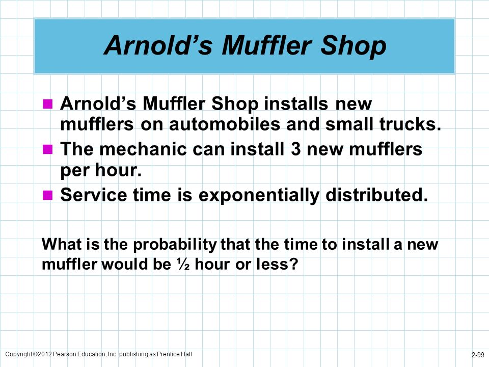 Copyright ©2012 Pearson Education, Inc. publishing as Prentice Hall 2-99 Arnolds Muffler Shop Arnolds Muffler Shop installs new mufflers on automobile