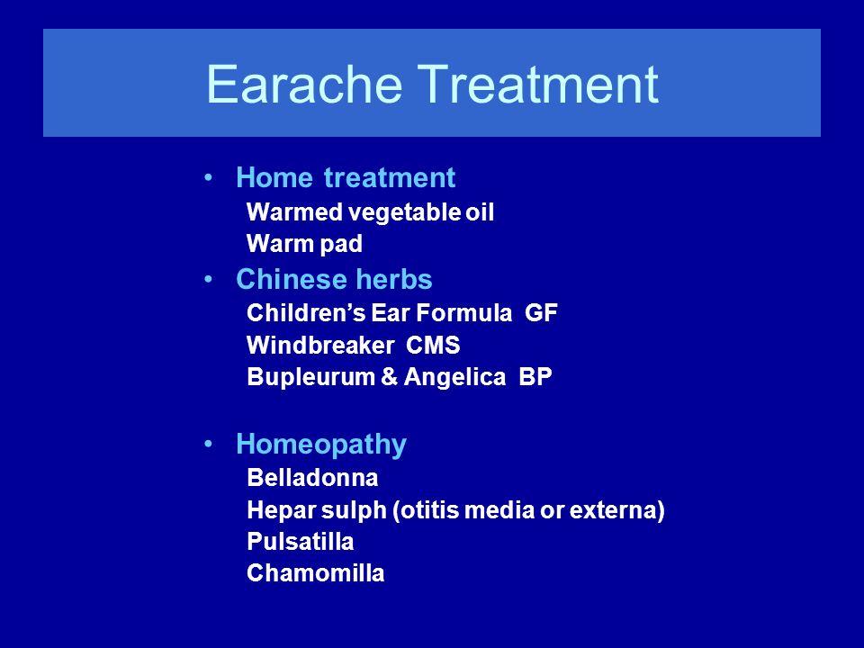 Earache Treatment Home treatment Warmed vegetable oil Warm pad Chinese herbs Childrens Ear Formula GF Windbreaker CMS Bupleurum & Angelica BP Homeopat